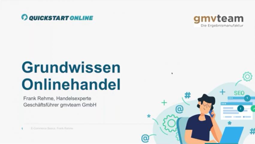 Dieser Onlinekurs zeigt E-Commerce Strategien und E-Commerce Grundwissen. Trainer ist Frank Rehme, gmvteam.