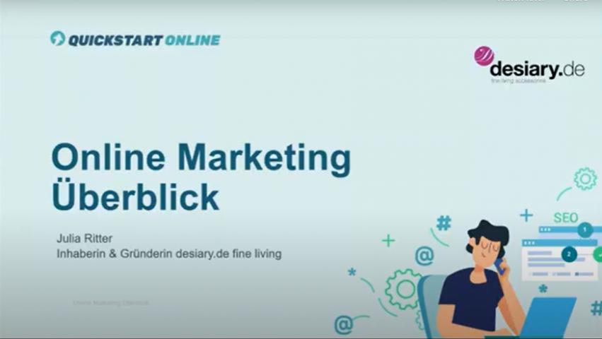Der Onlinekurs zeigt einen Überblick über Online Marketing, Internet Marketing, Social Media Marketing und E-Commerce-Marketing. Trainer ist Julia Ritter, desiary.de
